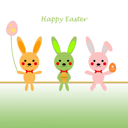 Background of Happy Easter greeting card Vector