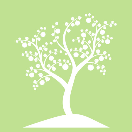 apple tree silhouette isolated on green background vector