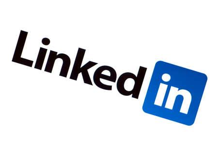linkedin: LinkedIn logo on a computer screen