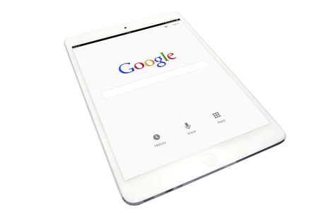 Apple ipad and google website on white background
