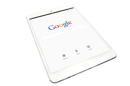 Apple ipad and google website on white background