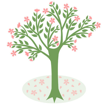blossoms tree isolated on white background Vector