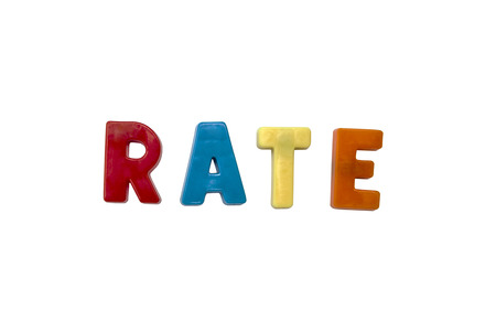 learing: Letter magnets RATE  isolated on white Stock Photo