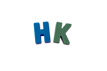 learing: Letter magnets  HK  isolated on white Stock Photo