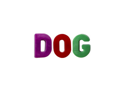 learing: Letter magnets DOG isolated on white Stock Photo