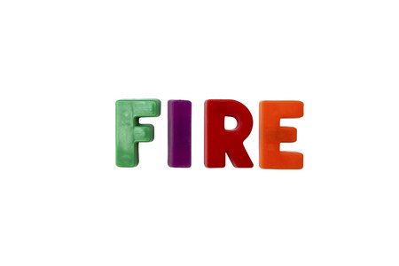 learing: Letter magnets FIRE isolated on white Stock Photo