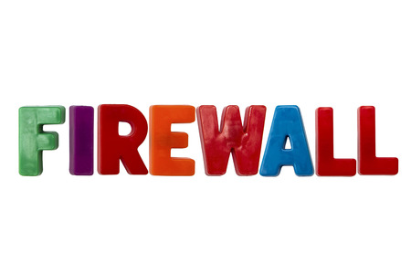 learing: Letter magnets FIREWALL isolated on white Stock Photo
