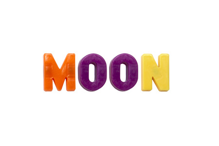 learing: Letter magnets MOON isolated on white Stock Photo