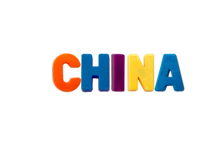 learing: Letter magnets CHINA isolated on white