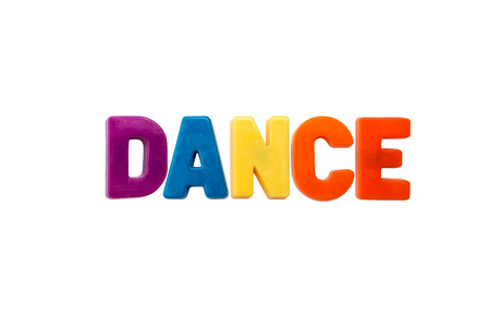 learing: Letter magnets DANCE isolated on white