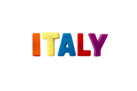 learing: Letter magnets ITALY isolated on white