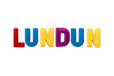 learing: Letter magnets LUNDUN isolated on white