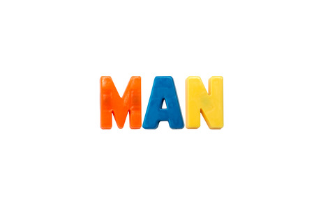 learing: Letter magnets MAN isolated on white