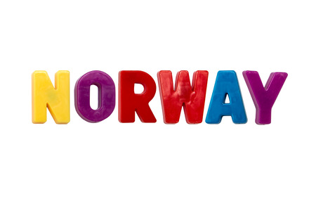 learing: Letter magnets NORWAY isolated on white Stock Photo