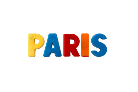learing: Letter magnets PARIS isolated on white