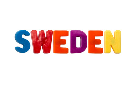 Letter magnets SWEDEN isolated on white photo