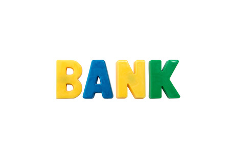 learing: Letter magnets BANK isolated on white Stock Photo