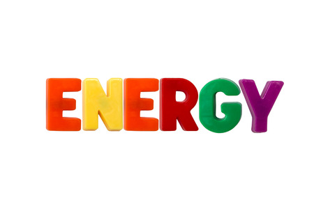 learing: Letter magnets ENERGY isolated on white Stock Photo