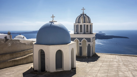Blue Church of Santorini,Greece photo