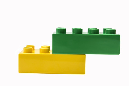 colorful building blocks isolated on white photo