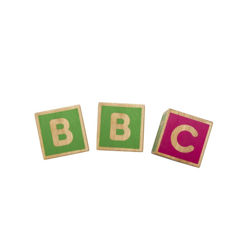 Alphabet blocks BBC isolated on white background photo