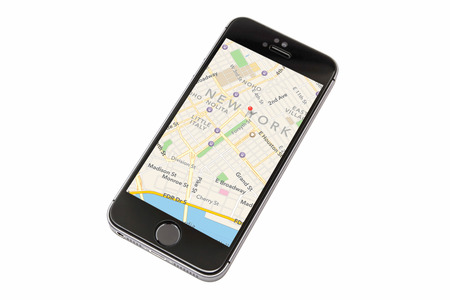 New York map displayed on iphone 5s screen
