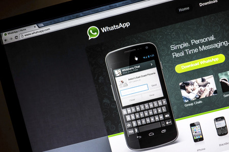 Whatsapp website on a computer screen
