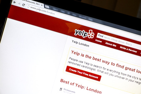 yelp website displayed on a computer screen