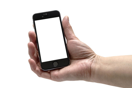 Iphone 5s in a hand isolated on white background