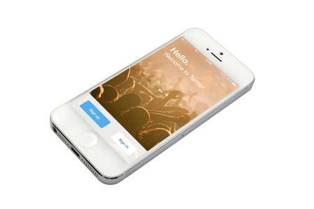 White iphone 5 isolated on white background