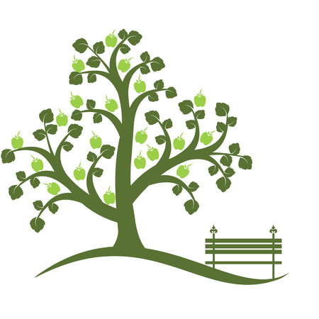Apple tree isolated on white Vector