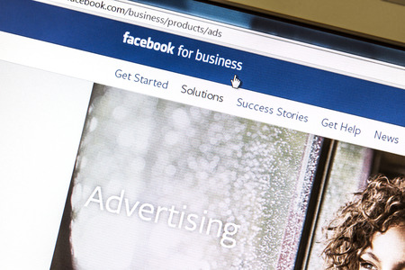 Ostersund, Sweden - August 3, 2014  Close up of Facebook Advertising page on a computer screen  Facebook is the largest social media network on the web  Redakční