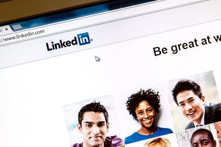 OSTERSUND, SWEDEN -August 3, 2014  Linkedin webpage on a computer screen  Linkedin is a business oriented social networking website   Redakční