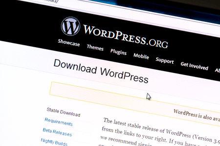 エステルスンド, スウェーデン - 2014 年 8 月 3 日ワードプレスのコンピューターの画面上のワードプレスのウェブサイトはフリーでオープン ソースの