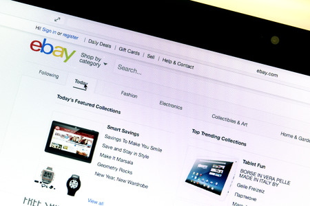 ebay: Close up of ebay website Editorial
