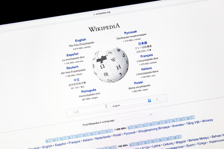 wikipedia: Wikipedia website displayed on a computer screen. Wikipedia is a free online encyclopedia in several languages.