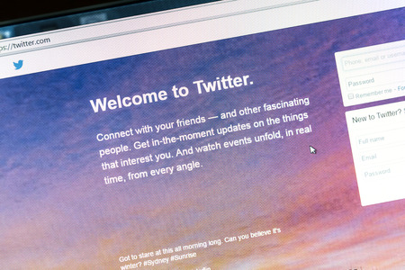 Twitter website on a computer screen Editorial