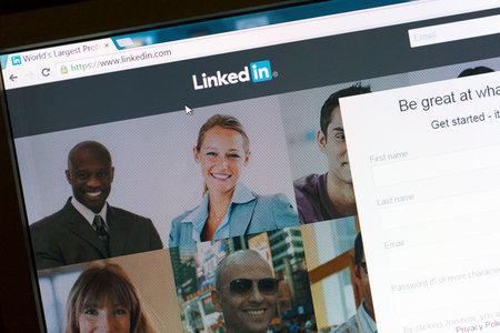 Linkedin website on a computer screen