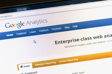 Close up of Google analytics main page on a computer screen. Google Analytics is a service offered by Google that generates statistics about a websites traffic. Editorial
