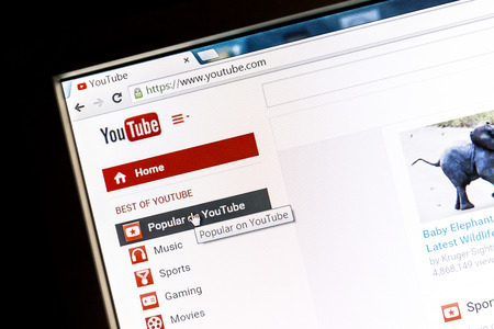 YouTube's website on a computer screen. Youtube is the biggest video-sharing website