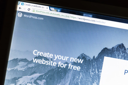 source: Wordpress website on a computer screen. WordPress is a free and open source blogging tool.