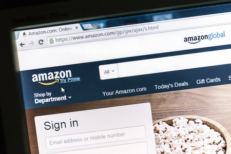 Amazon website displayed on a computer screen. Amazon is an american international electronic commerce company and the world's largest online retailer.