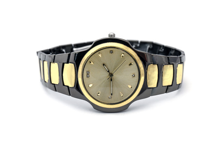 exactness: Mens golden wristwatch Isolated on white background Stock Photo