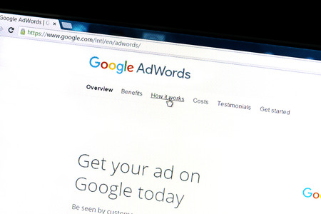 adds: Google Adwords website on a computer screen. Google AdWords is an online advertising service.