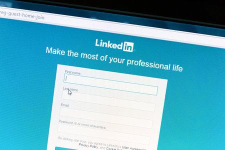Linkedin website on a computer screen. Linkedin is a business oriented social networking website.