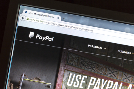 paypal: Paypal website on a computer screen. Editorial