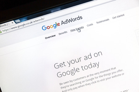 adwords: Google Adwords website on a computer screen. Google AdWords is an online advertising service.