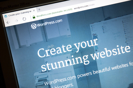 WordPress website on a computer screen. 報道画像