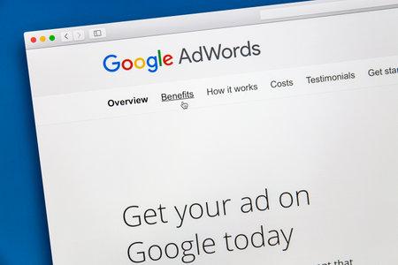 Google Adwords website on a computer screen
