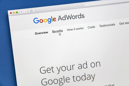 Google Adwords website on a computer screen